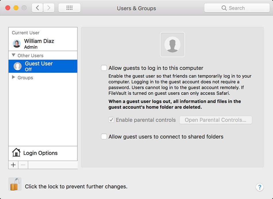 mac os x guest user password